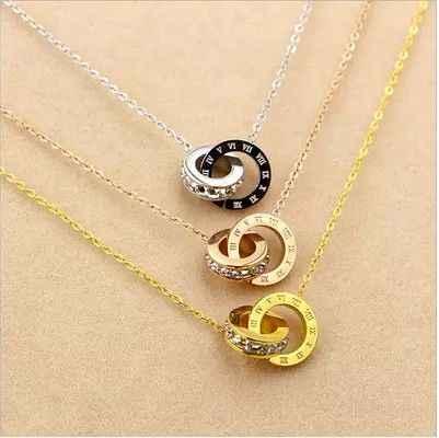 YUN RUO moda marka kobieta biżuteria złoty kolor srebrny cyfry rzymskie naszyjnik 316 L biżuteria ze stali nierdzewnej wysoki połysk
