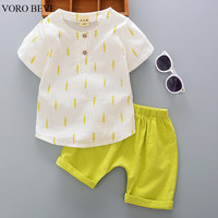 VORO BEVE Baby Boy Clothes Cotton printing Sleeveless T-shirt +shorts Pants Suit Children Clothes Baby Boy Suit Baby Clothes Set