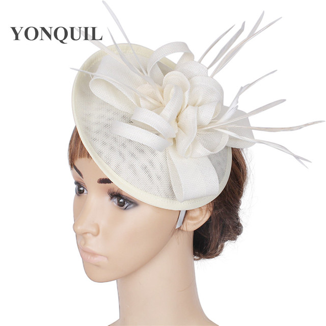 44b39db1fd1a1 ivory imitation sinamay fascinator cocktail hat wedding headwear church  headpieces feather hair accessories NEW ARRIVAL 15color