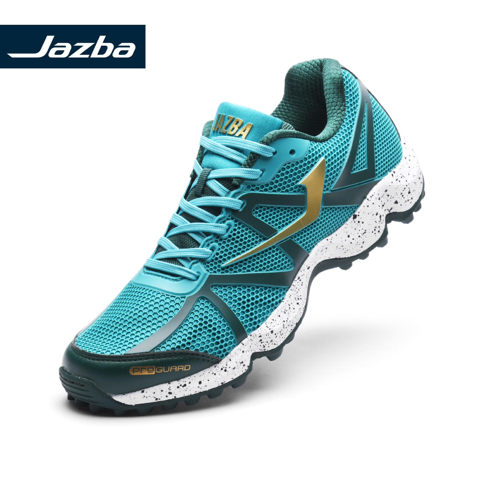 JAZBA RATTLER 2.1 Mens Field Hockey Shoes Professional Training Rubber Cleats Boots TEAL GOLD GO Outdoor Sports Sneakers
