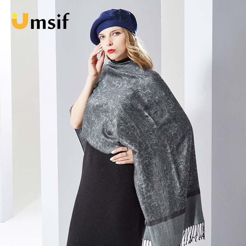 Women Long Plaid Silk Jacquard Scarf 2019 New Poncho Women's Shawl Winter Cashmere Scarves Female Pashmina Hijab Scarf And Wraps