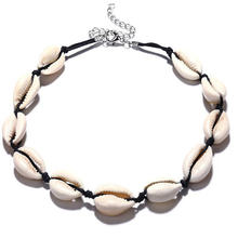New Hawaii Personality Fashion Casual Black Rope Chain Natural Shell Necklace Collar Summer Beach Jewelry