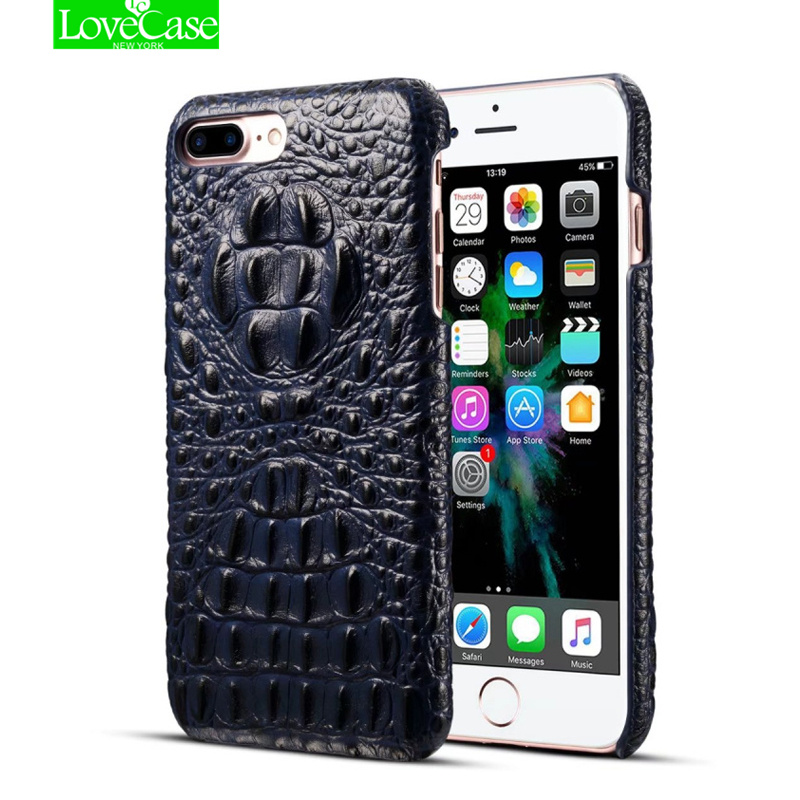 LoveCase 8Plus Real Genuine Leather Case for iPhone 8 Plus 7 Plus Phone Luxury 3D Crocodile Pattern Retro Hard Slim Cover Cases