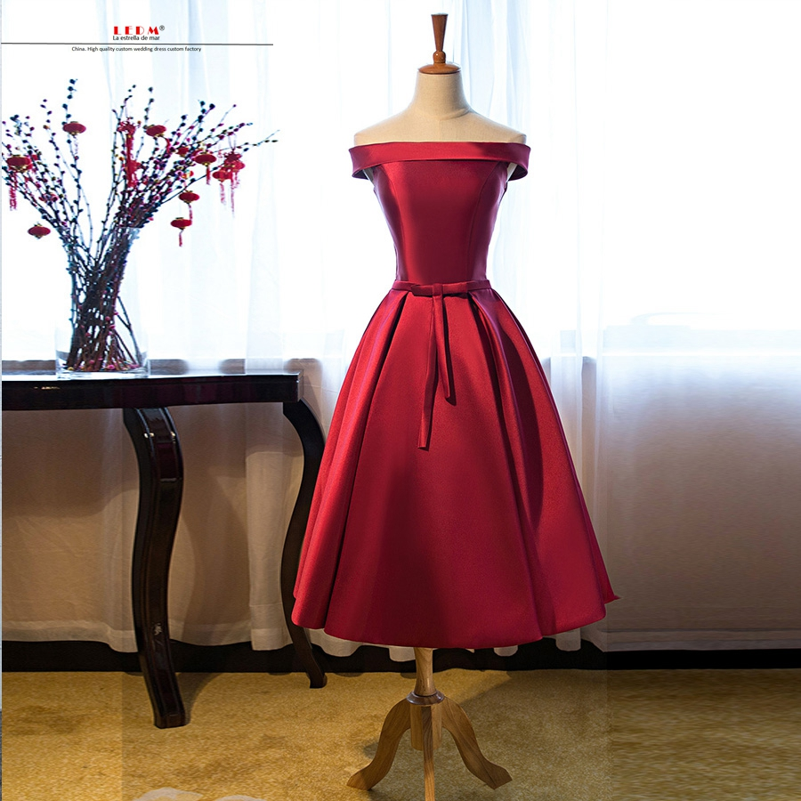 Robe demoiselle d'honneur new satin Boat Neck with sleeve burgundy   bridesmaid     dresses   Tea Length vestido madrinha real photo