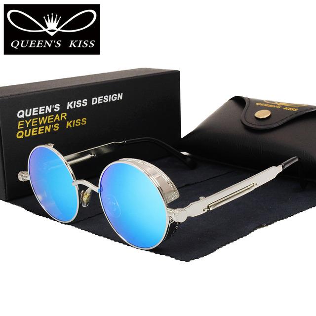 Gothic Steampunk Mujeres Recubrimiento Gafas de Sol Espejo Gafas de Sol Redondas Círculo gafas de Sol Retro Vintage Gafas de Sol Masculino