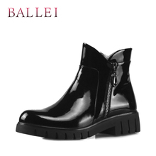 BALLEI Luxury Woman Ankle Boot Vintage Black Genuine Leather Classic Round Toe Shoes Soft Square Heel Casual Lady Warm Boots B3