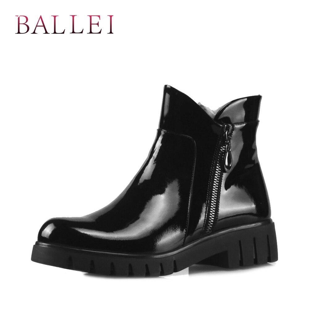 BALLEI luxe femme bottine Vintage noir véritable cuir classique bout rond chaussures doux talon carré décontracté dame bottes chaudes B3-in Bottines from Chaussures    1