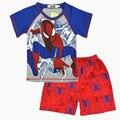 Terno crianças meninos verão dos desenhos animados T-shirt + short das calças de lazer set casa confortável 100% algodão roupa dos miúdos frete grátis