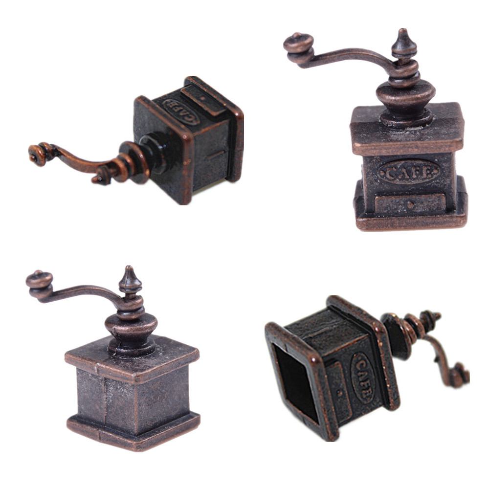 1 PC Coffee Grinder 1/12 Dollhouse Miniature Kitchen Vintage Coffee Grinder For Doll Gift
