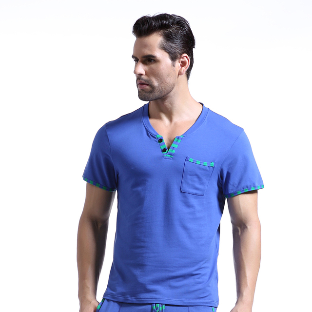 WJ Brand Man Home Leisure Clothes/Mens Sexy Cotton Skinny Night Shirts/Short Sleeves Sleeping Tops