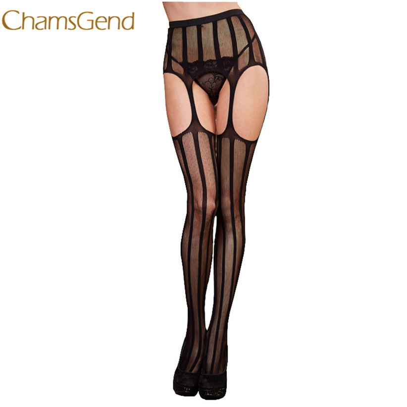 Chamsgen Tights Newly Design Women Black Sexy Striped Lace Top Garter Belt Stockings Sexy Lingerie Pantyhose Drop Shipping