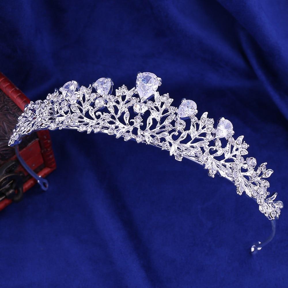 4 - Luxe Noble Feuille De Cristal, Bijoux De Mariée Strass Couronne Diadèmes Collier Boucles D'oreilles, Perles Africaines,