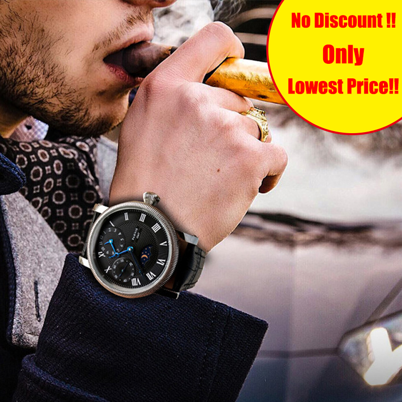 Parnis Hand Winding Men's Watch PVD Case Blue Hands White Dial Black Leather Band Mens Mechanical Hand Wind Watches Gift For Men