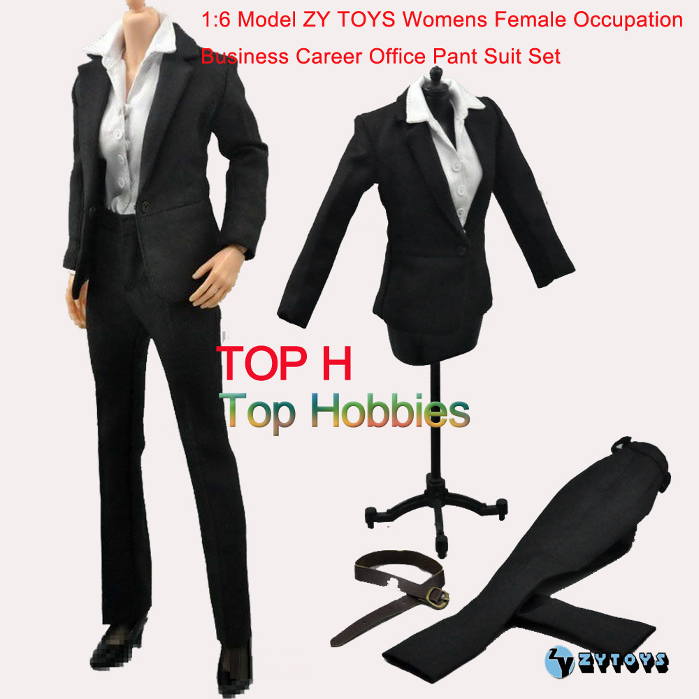 1:6 Scale ZY TOYS Womens Female Occupation Business Career Office Pant Suit Set Fit For 12'' Action Figure Body Accessories F sutton studio womens 2 pcs quilted pant suit