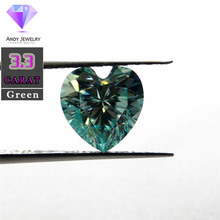 10*10mm 3.3 Carat Green color Moissanite heart Brilliant cut Sic material similar to diamond militech sic