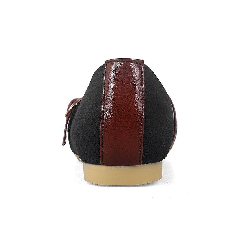 Las Los beige Cabeza Cinturón Mujeres Nubuck Estilo Decoración Casual De Plano Zapatos Corea Matching Albaricoque Con Fashion apricot Negro Color Beige Redonda Hebilla Black Cgq4Hg