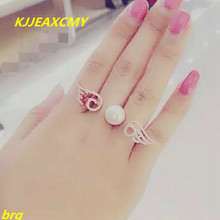 KJJEAXCMY Fine jewelry 925 silver inlaid natural freshwater pearl two-finger ladies ring