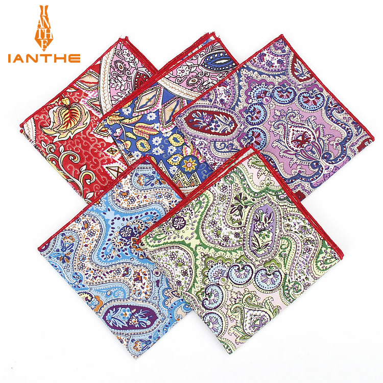 2018 Brand New Men's Fashion Cotton Paisley Print Pocket Squares For Men Handkerchief Wedding Vintage Hanky Suits Pocket Hankies