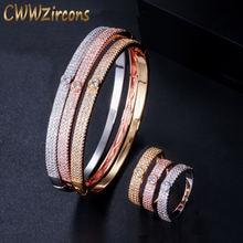 Cwwzircon роскошный круглый браслет кольцо наборы модные Дубай