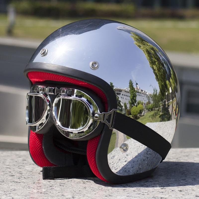 350 Chrome Silver Motorcycle Helmet Open Face Retro