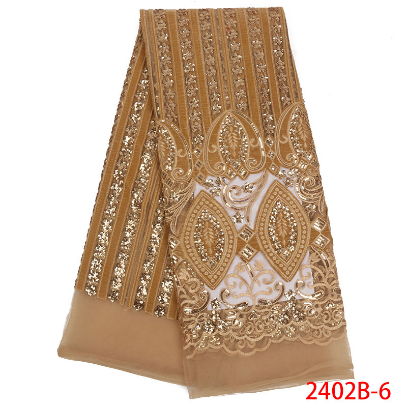 Latest 2018 Nigerian Gold lace fabrics high quality sequins lace fabric for wedding dress African French