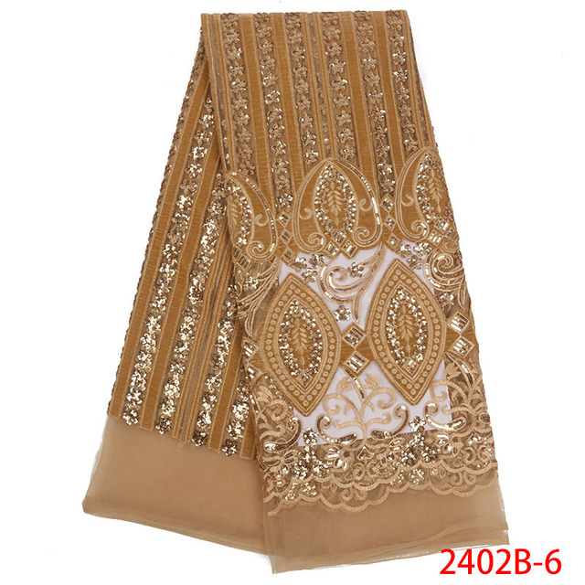 Latest 2018 Nigerian Gold lace fabrics high quality sequins lace fabric for wedding dress African French net lace fabric NA2402B