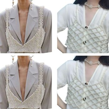 Womens Sexy Handmade Imitation Pearls Beading Crop Top Exterior Vest Hollow Out Grid Camisole Decoration Night Party Clubwear 1