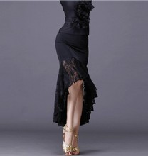 2020New sexy Latin dance skirts women black lace skirt irregular fish tail skirt long ballroom dance dress