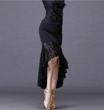 2020New sexy spódnice do tańca latynoskiego kobiety czarna koronkowa spódniczka nieregularna spódnica w kształcie rybiego ogona długa sukienka do tańca towarzyskiego