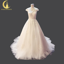 Rhine Real Picture Hot Design Cotton Lace Sexy V Open Back Ball Gown Court Train High Quality Bridal Wedding Dresses