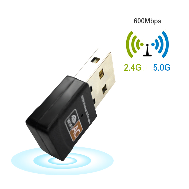 Wifi Adapter Wireless USB 600Mbps AC600 2.4GHz 5GHz 802.11b/n/g/ac WiFi Antenna PC Mini Computer Network Card Receiver Dual Band