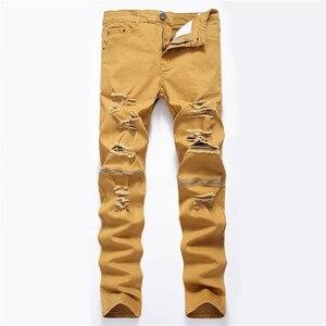 Image 5 - Nam Man Đen Đỏ Trắng Quần Jeans 2018 Thu Đông Nam Quần Denim Cổ Điển Cao Bồi Trẻ Trung Lỗ Dây Kéo Quần Jeans Slim quần Dài