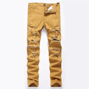 Image 5 - men trousers Man black red white jeans 2018 autumn men Casual Denim Pants Classic Cowboys Young hole zipper jeans Slim trousers