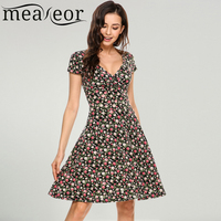 Meaneor Women V Neck Cap Sleeve Floral Print Flowers Fit And Flare Casual Dress 2018 Summer
