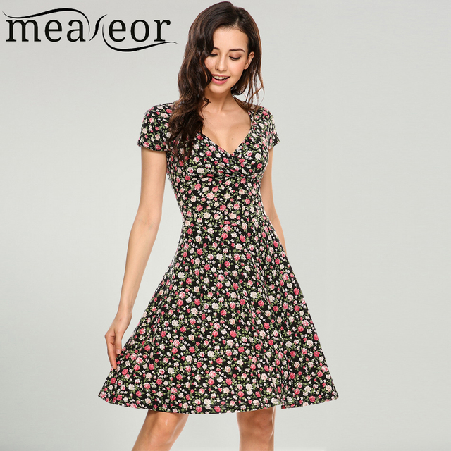 Meaneor Women V-Neck Sleeve Floral Print Flowers Fit and Flare Casual Dress 2019 Summer New High Waist Ladies Party Dresses