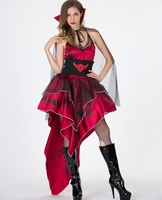 Halloween Women Sexy Dancers Performance Costume Apparels Bar Show Acting Red Bat Queen Dancing Party Clothes Dress