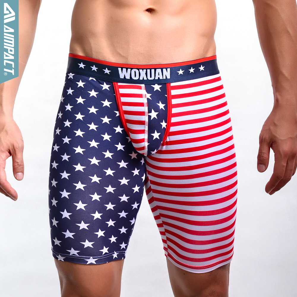 New Sexy Cotton Underwear Shorts For Men Fashion USA Flag Gay Bottoms Fitted Lounge Pants Man Underpants WX1103 By Woxuan