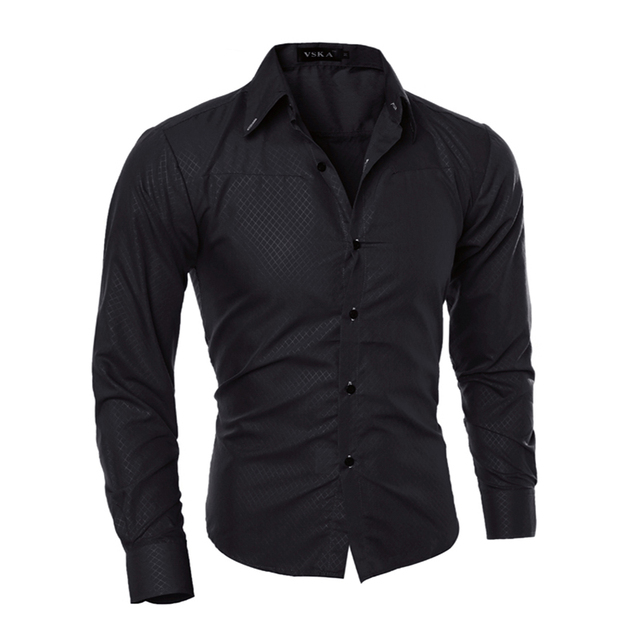 Hombre Vestir Camisas de Vestido 2017 Casual Slim Fit Camisa Dos Homens Chemise Homme Camisa Dos Homens Sólida Malha Heren Hemden Camisa Masculina 5XL