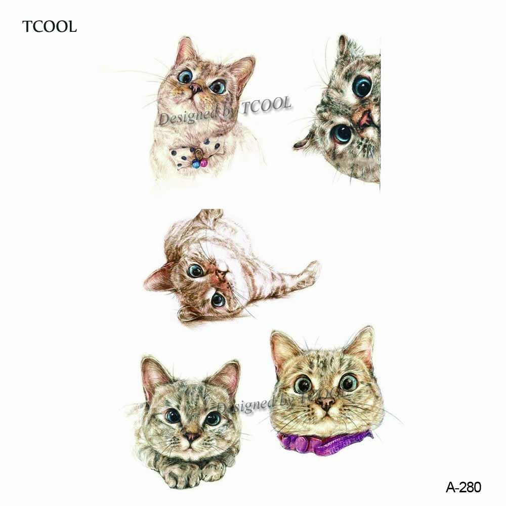 HXMAN Cat Animal Temporary Tattoo Sticker Waterproof Women Fashion Fake Body Art 9.8X6cm Kids Hand Tattoos A-280