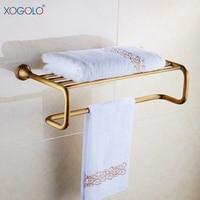 Xogolo Fashion Double Layer Bath Towel Hanger European Style Antique Towel Rack Bathroom Accessories High Quality