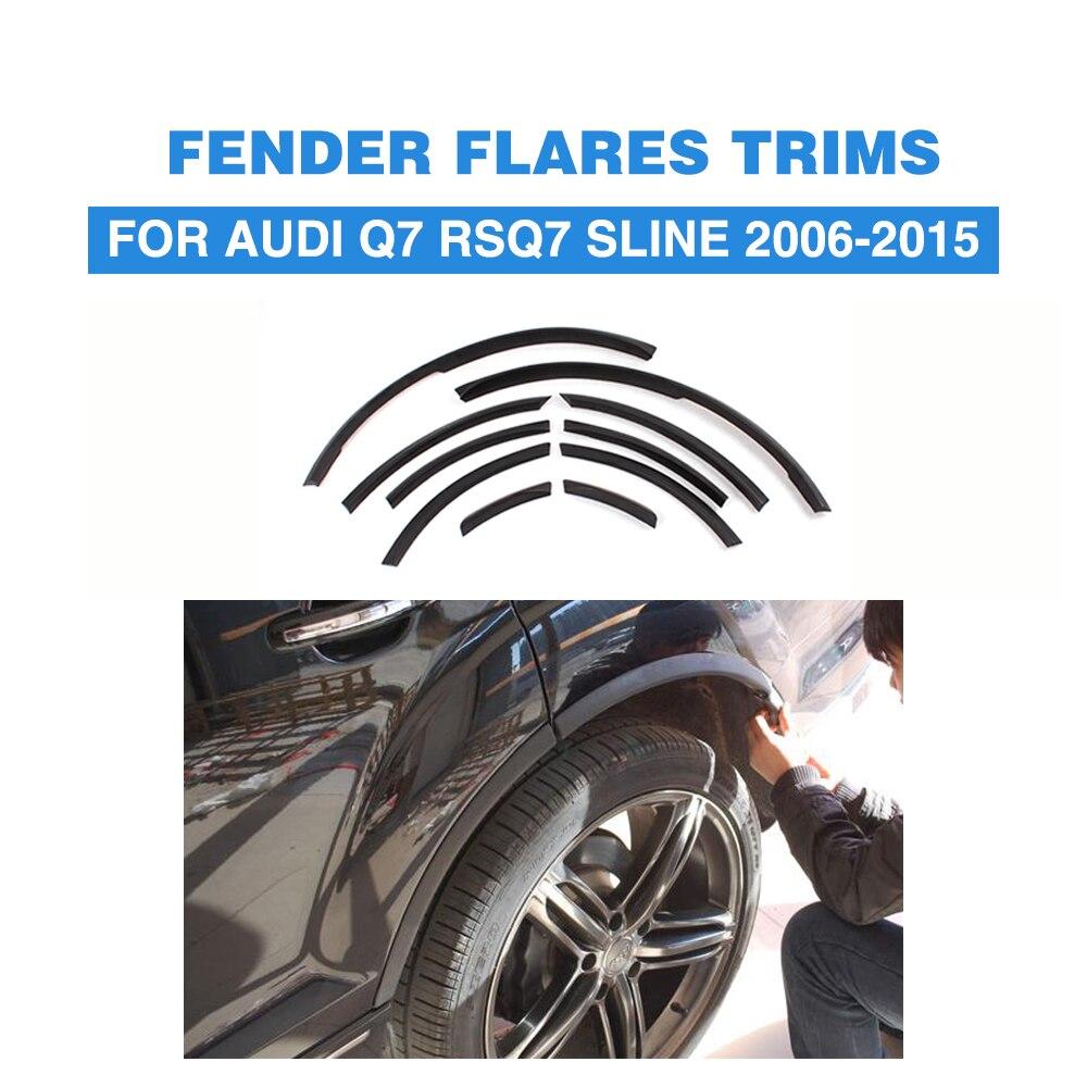 Pour Audi Q7 RSQ7 Sline 2006-2015 PU Mat/Noir Brillant Étroite Bande Roue Bien Arc Lip Couverture garniture Élargisseurs D'ailes De Voiture Style