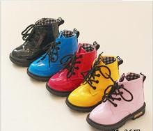 2016 Martin boots children shoes autumn new Korean children boys and girls patent leather boots