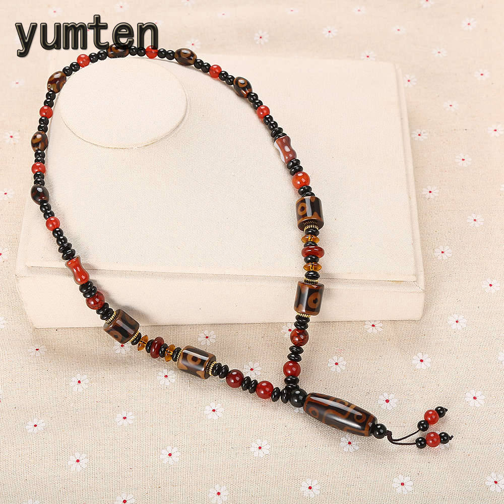 Yumten Ethnic Women Necklace Tibetan Dzi Beads Chain Agate Pendant Funky Party Jewelry Round Red Bead Accessories Black Spacer Yumten Ethnic Women Necklace Tibetan Dzi Beads Chain Agate Pendant Funky Party Jewelry Round Red Bead Accessories Black Spacer