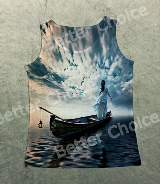 27ab6f7da7196 Track Ship+Fresh Vest Tank Tanks Camis Tops Top White Dress Girl on Boat  Lake Under Beautiful Sunset 0732