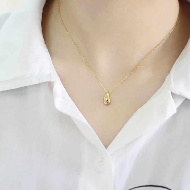 Flyleaf זהב מים טיפות שעועית שרשראות & תליוני נשים 2018 מגמה חדשה 925 סטרלינג כסף תכשיטי Fasion
