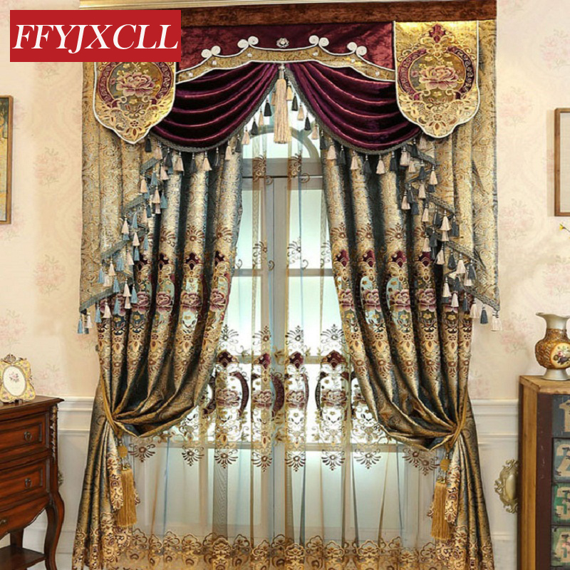 Dark Gold Color Europe Luxury Villa Valance Floral Curtains For Living Room Bedroom Window Embroidered Tulle Curtains Drapes