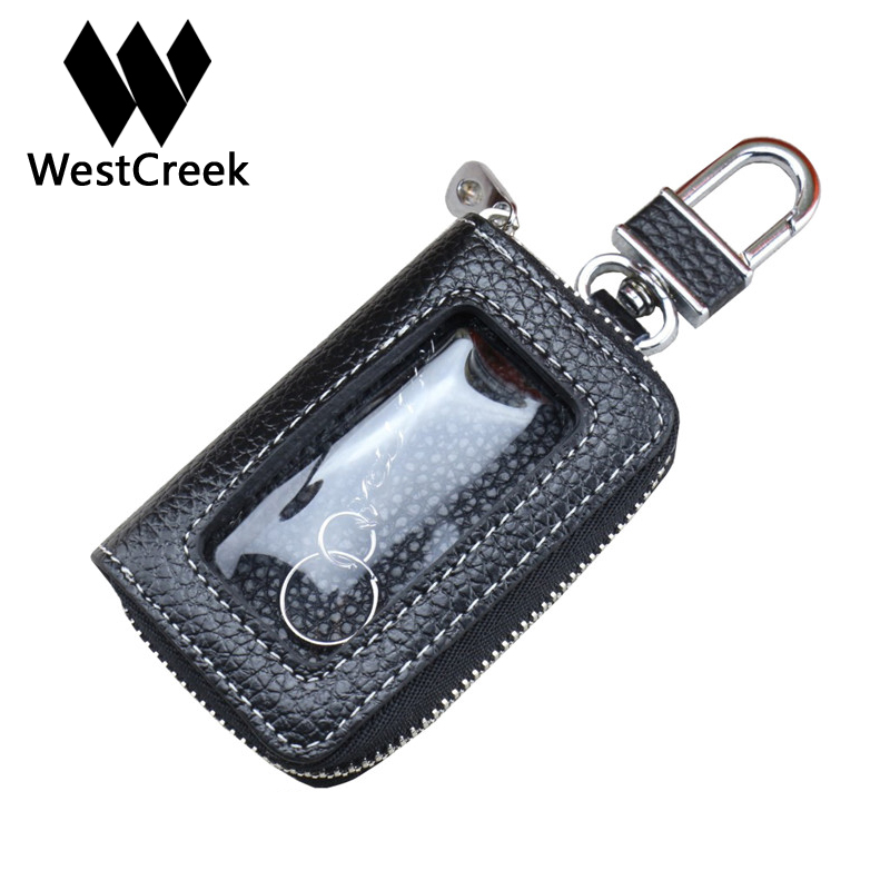 Westcreek Brand Men/Women Leather Zipper Car Key Holder Minimalist Keychain Key Organizer Wallets with Transparent Window