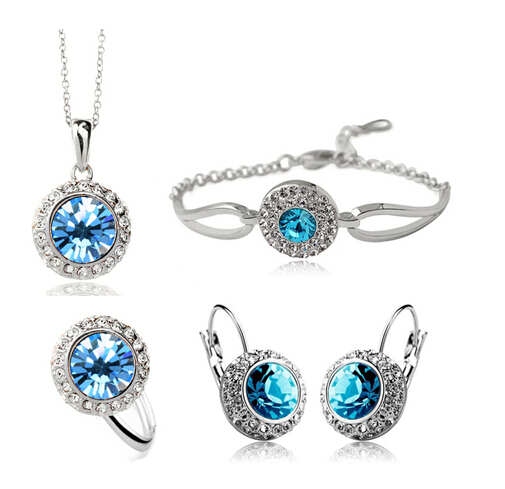 OMH wholesale fashion 18 KT gold white Moon river Women girls gift Necklace + Earrings+Hand catenary+ring Jewelry sets TZ141