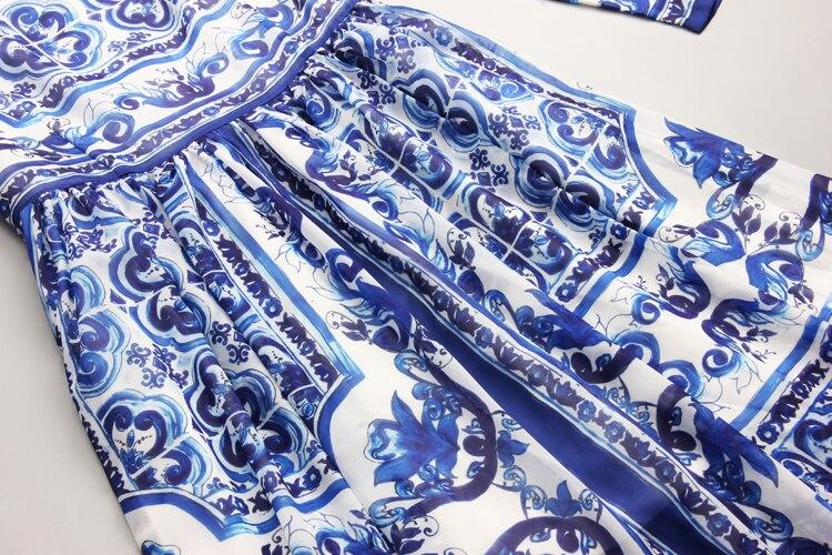 S 4Xl de alta calidad 2018 verano y otoño nueva moda azul y blanco estampado de porcelana de manga larga delgado vestido fresco de las mujeres - 4