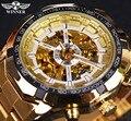 Часы Winner  классические  прозрачные  полностью золотые  мужские  топовые  роскошные  спортивные  автоматические  часы со скелетом  наручные ча...